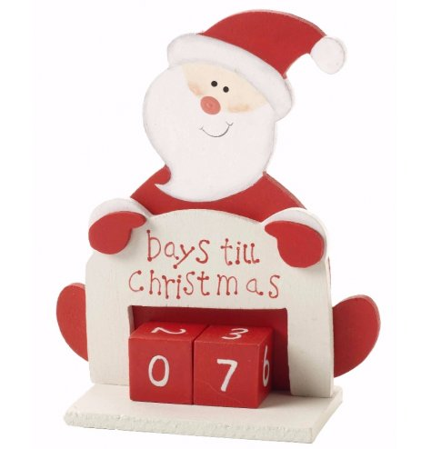 A friendly Santa figure set behind a Days Til Christmas perpetual calendar in red and white Christmas colours.