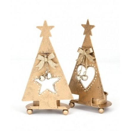 Gold Metal Tree T Light Star/Heart 2a