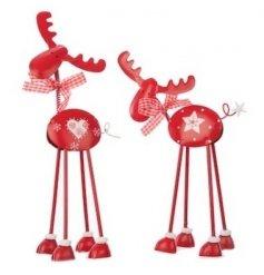 2 Assorted red metal reindeers