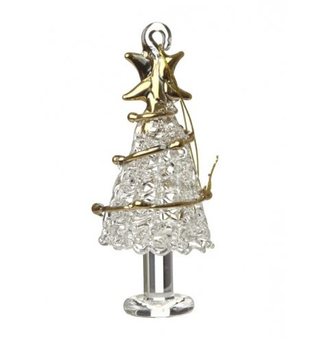 A decorative glass Christmas tree decoration with a gold star topper and gold garland.