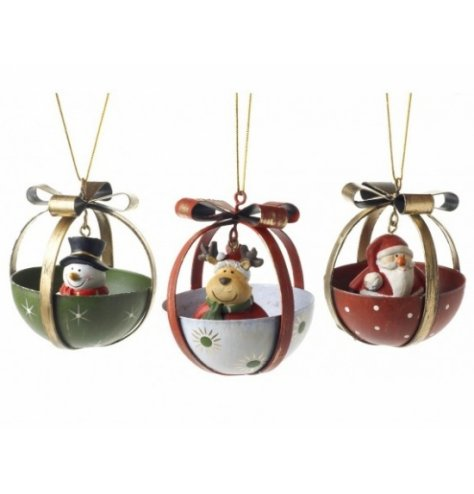 Traditional gift design baubles with Christmas character bells inside, including snowman, reindeer and Santa designs.