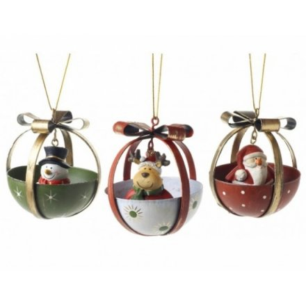 Santa Snowman and Deer Mix In Half Bells 3a
