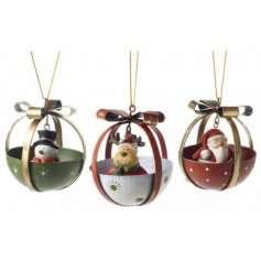 3 Assorted Christmas decorations, Santa, Snowman and Deer
