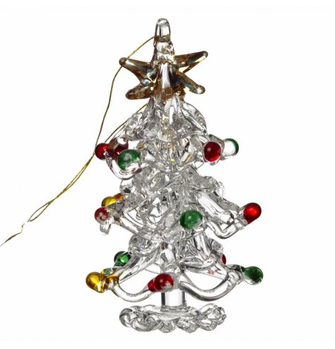An elegant glass Christmas tree decoration with mixed colour glass baubles and a gold string hanger.