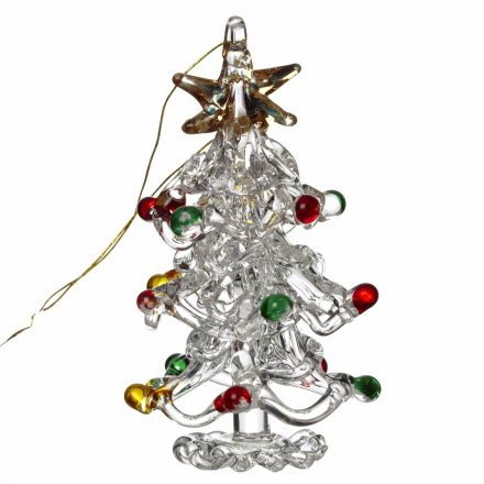 Glass Tree With Coloured Baubles, 5cm
