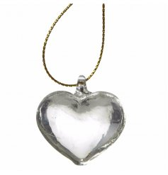 A beautiful, classic and timeless translucent hanging heart with gold thread to hang.