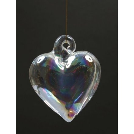 Hanging glass hearts with gold string to hang with