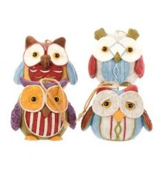 Funky festive owl resin hanging decorations