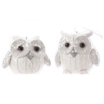 Mix of White Glitter Owls