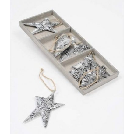 Silver and Gold Heart Tree Star Set Mix