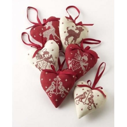Red and White Christmas Hanging Heart Mix