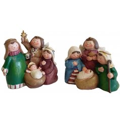 A festive themed resin nativity scene complete with smiling characters and neutral colours