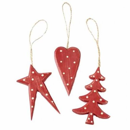 Wooden Red Star Tree and Heart Hanger Mix