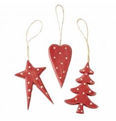 A charming mix of nordic inspired hanging wooden decorations