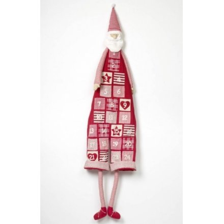 Red & White Fabric Santa Advent Calendar