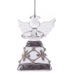 Pearl and glitter design glass angel Christmas decoration