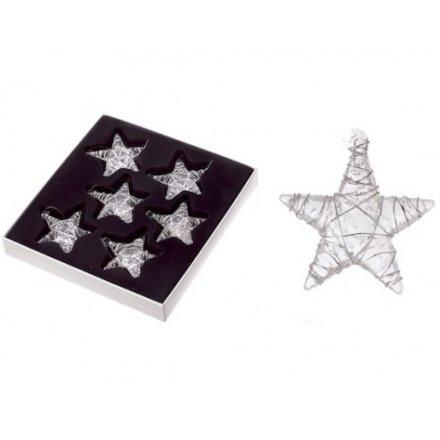 Set of 6 Glass Stars
