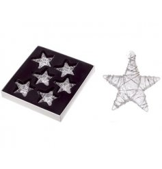 Glass star Christmas decorations, price is for a box of 6 stars