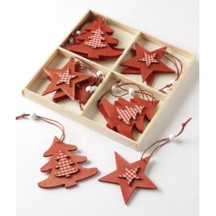 Star and Tree Hangers Box of 12