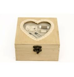 Wooden antique sewing box