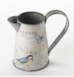 Metal decorative jug with Jardin illustration wrapped around