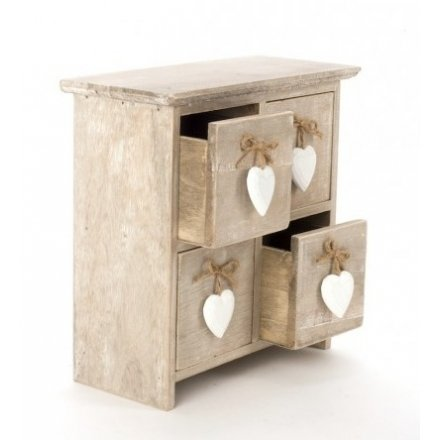 Wooden Four Draw Heart Box
