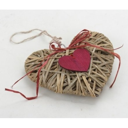 Rattan Heart With Red Heart Small