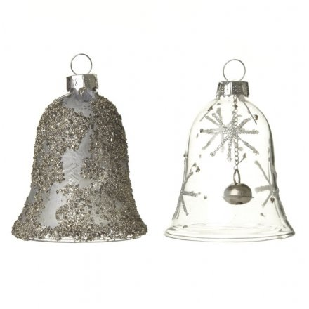 Glass Hanging Bell Mix, 8cm