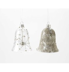 Delicate glass hanging bell decorations. By Heaven Sends