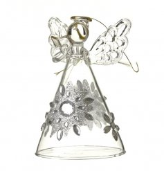 A beautifully decorated clear glass angel set with a glittery floral inspired skirt
