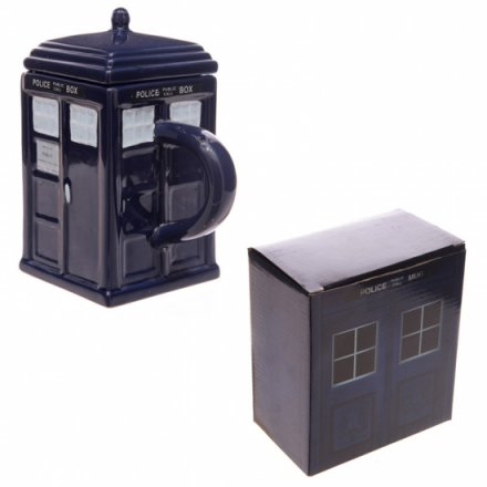 Police box shaped navy blue mug