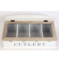 Wooden two tone cutlery box