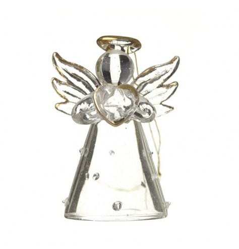 A chic glass angel decoration with a dotty glass skirt, holding a glass heart. Complete with gold tip detailing.