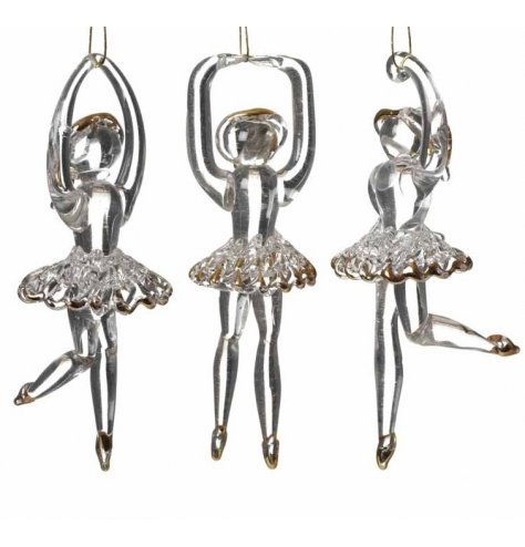 An assortment of beautiful glass ballerina decorations with tutus and gold tip detailing.