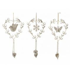 Metal hanging heart decorations, 3 assorted designs
