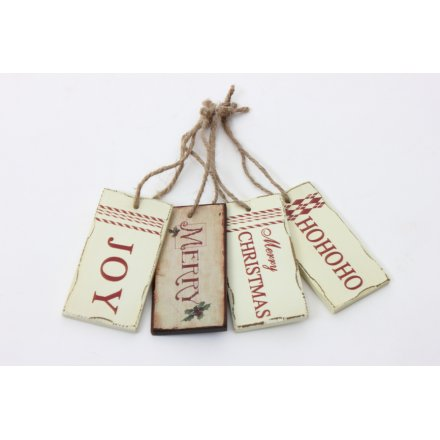 Red And White Christmas Hanging Plaque