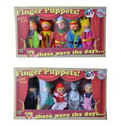 Wooden headed finger puppets. Two assorted sets of five.