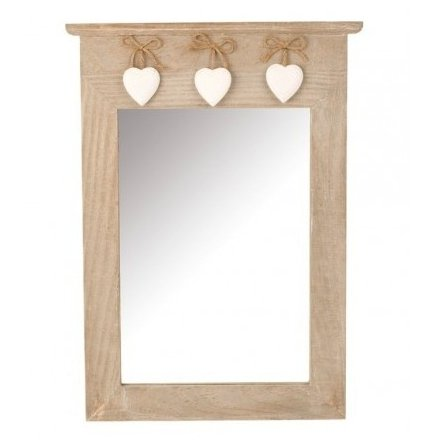 Wooden Mirror With Hearts