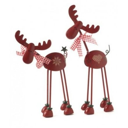 Standing Metal Deer Red Mix 24cm