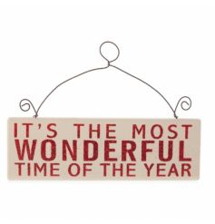 Painted in cream with red glitter text. Festive small hanging sign
