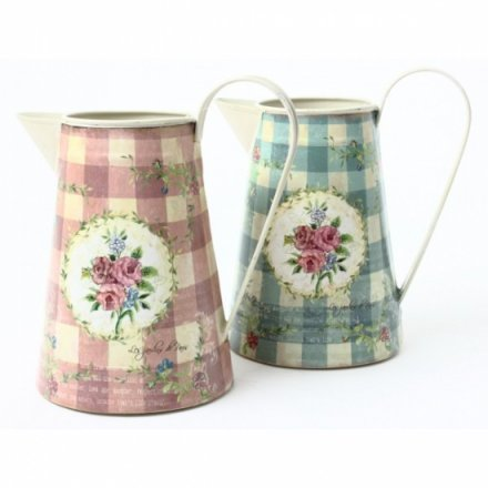 Blue and Pink Floral Metal Jug Mix