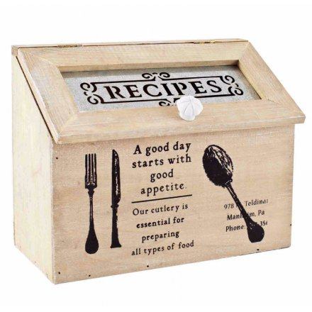 Vintage Printed Recipes Box
