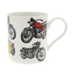 A fine china mug featuring a printed Classical Bike decal