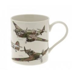 A fine china mug featuring a printed Classical Plane decal