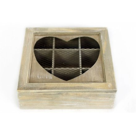 Lime Wash Heart Tea Box 22 x 7