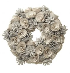Beautiful round pinecone wreath finished in snow white and silver