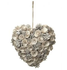 A stunning heart shaped pinecone wreath in cream, white and silver.