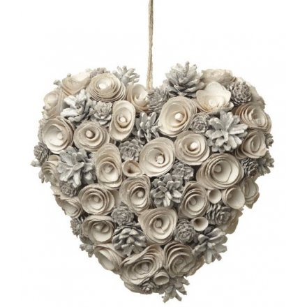 White Pinecone Heart Wreath
