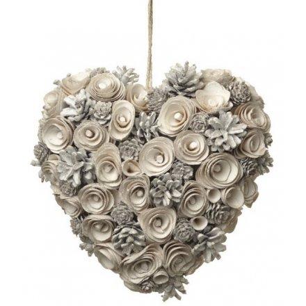 White Pinecone Heart Wreath