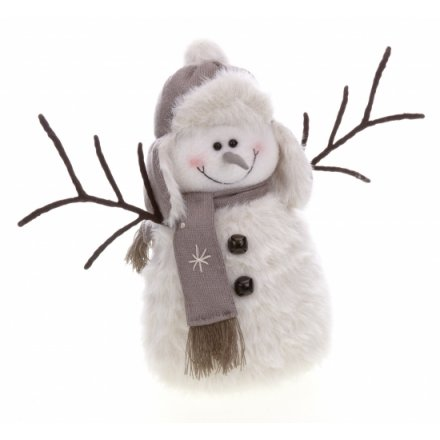 Snowman with Twig Arms Hat & Scarf